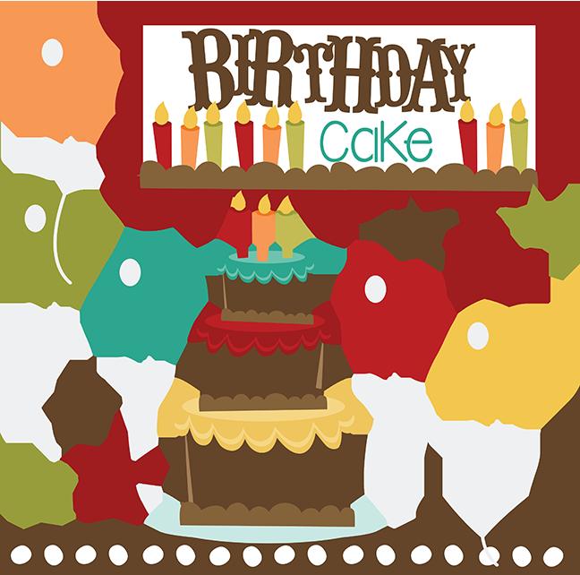 Scrapbook clipart happy birthday. Cake svg files free