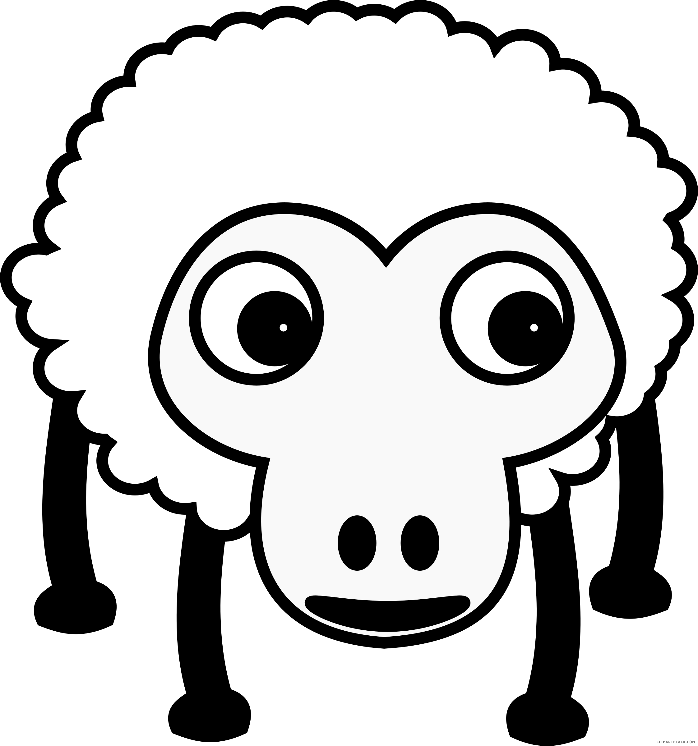 Footprint clipart sheep. Black and white animal