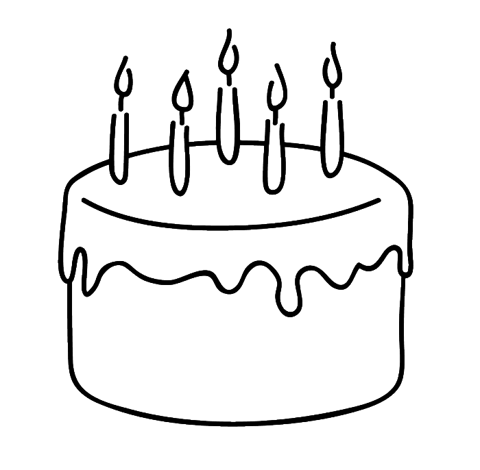Clipart cake retro. Birthday that is simple