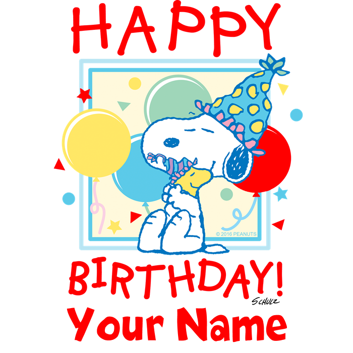 Happy red personalized mug. Peanuts clipart birthday