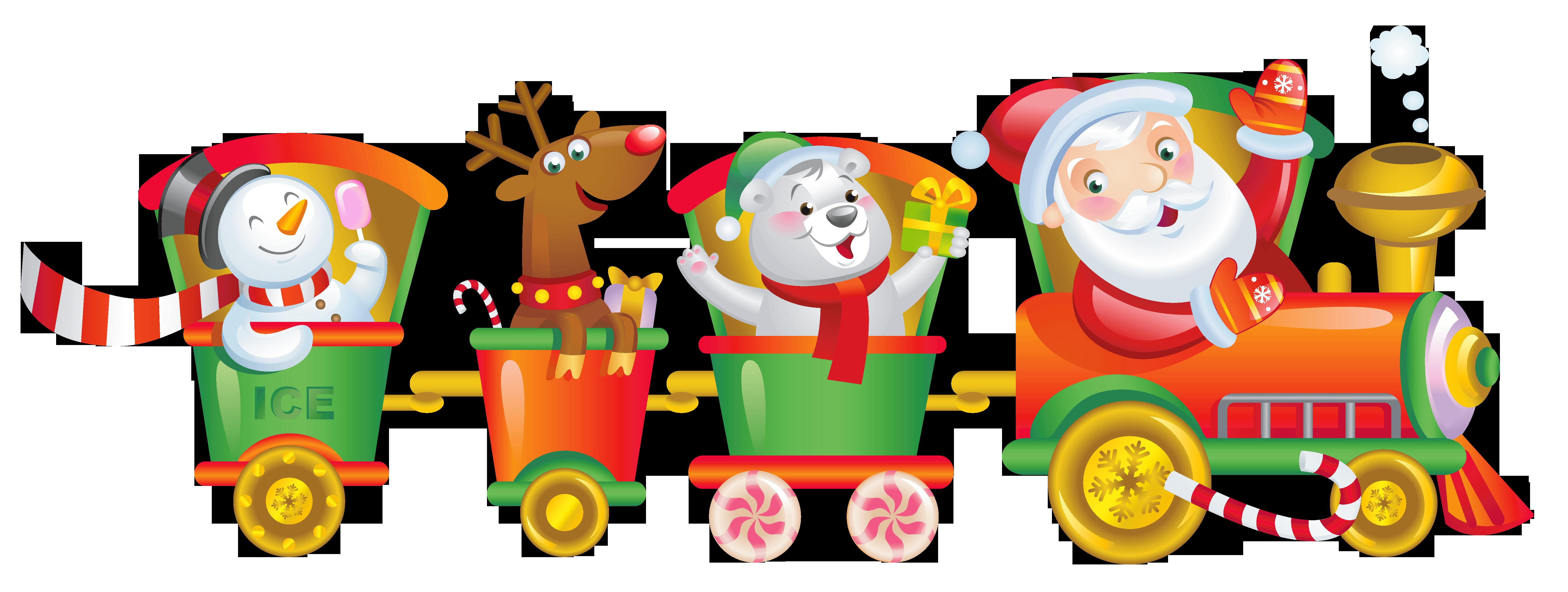 Transparent christmas santa png. Gingerbread clipart train