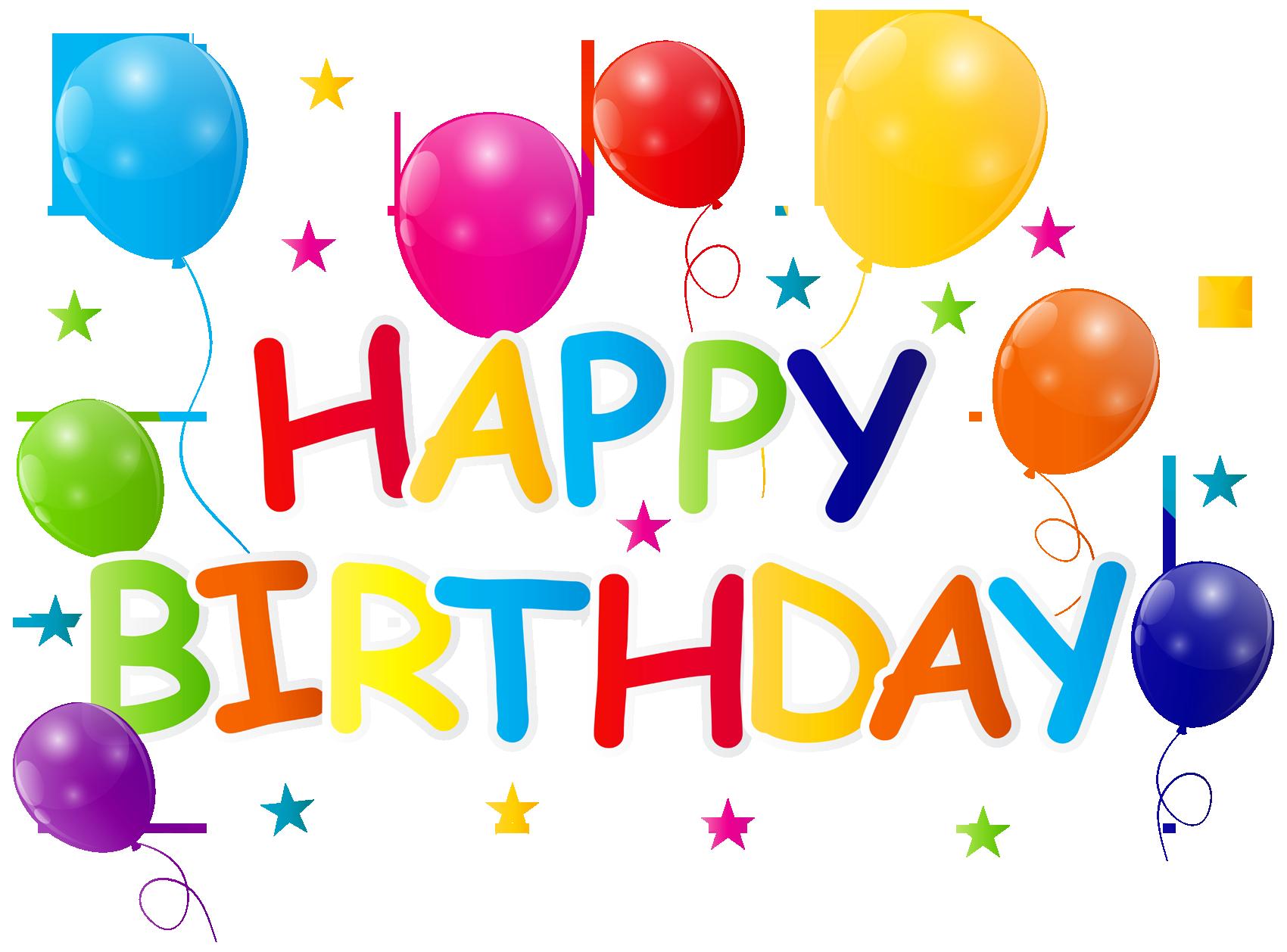Happy text art design. Clipart birthday transparent background
