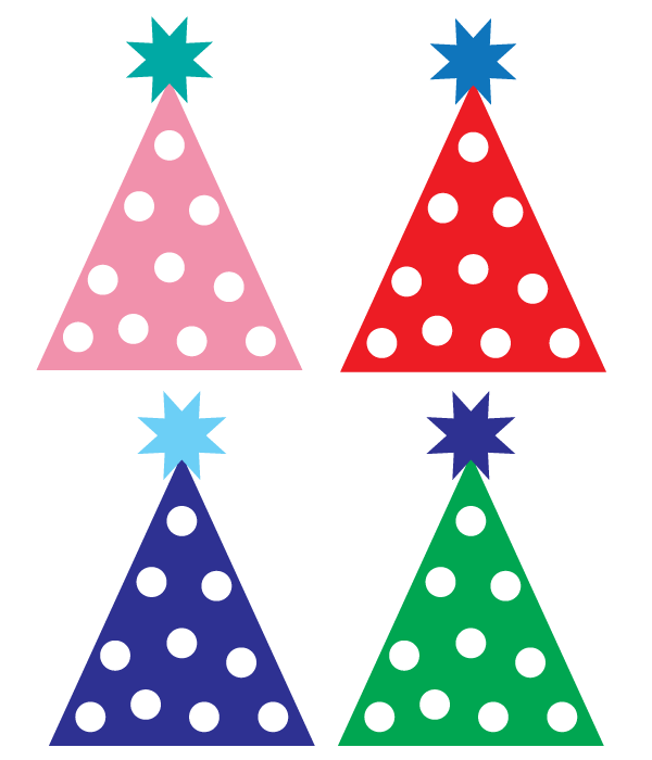 Free party hat designs. Tree clipart birthday