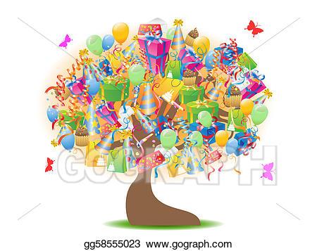 Vector stock gifts illustration. Clipart tree birthday