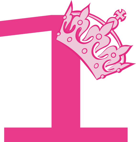 Number 1 clipart we re.  st birthday pink