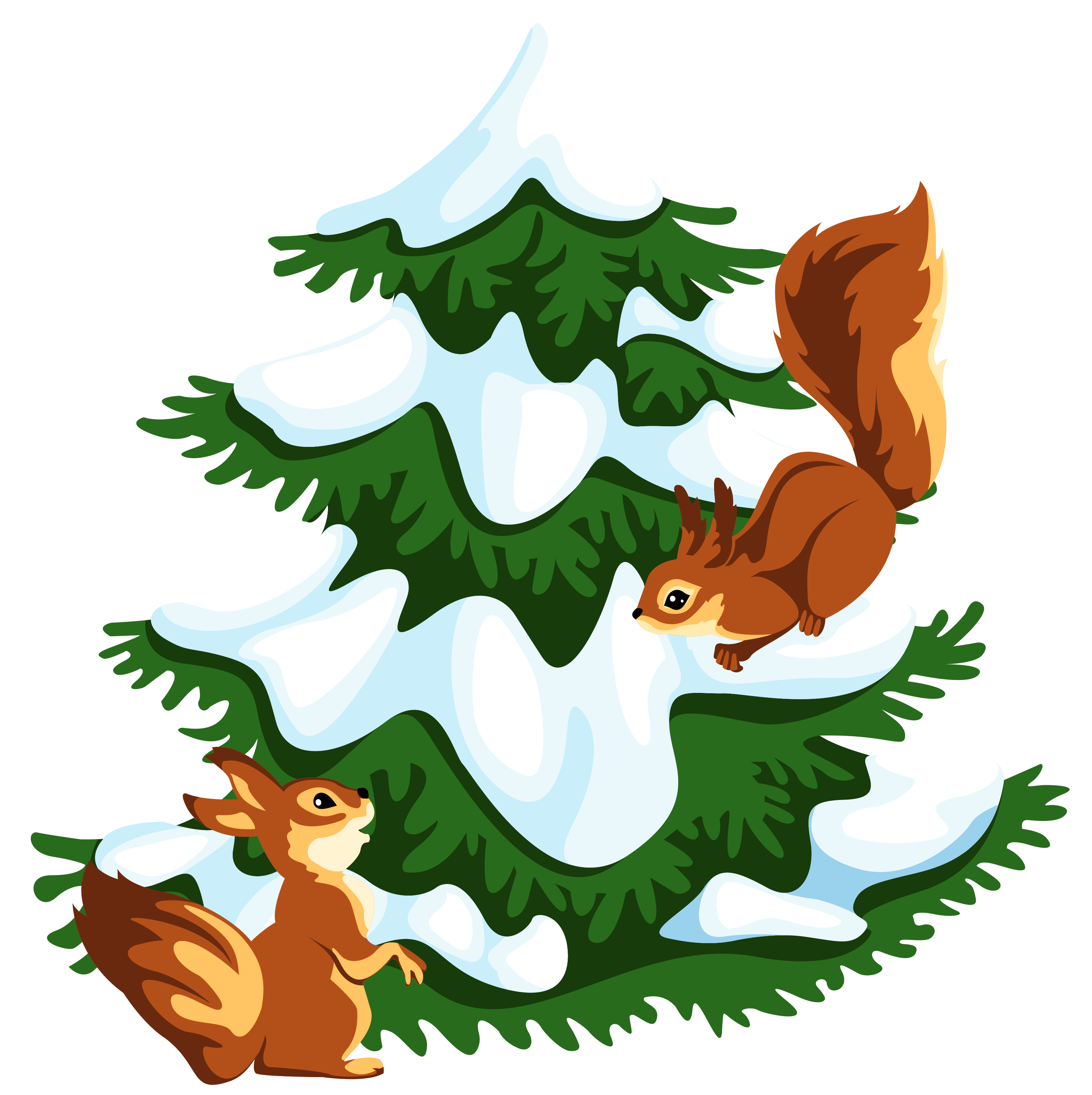 Transparent snowy with squirrels. Tree clipart snow