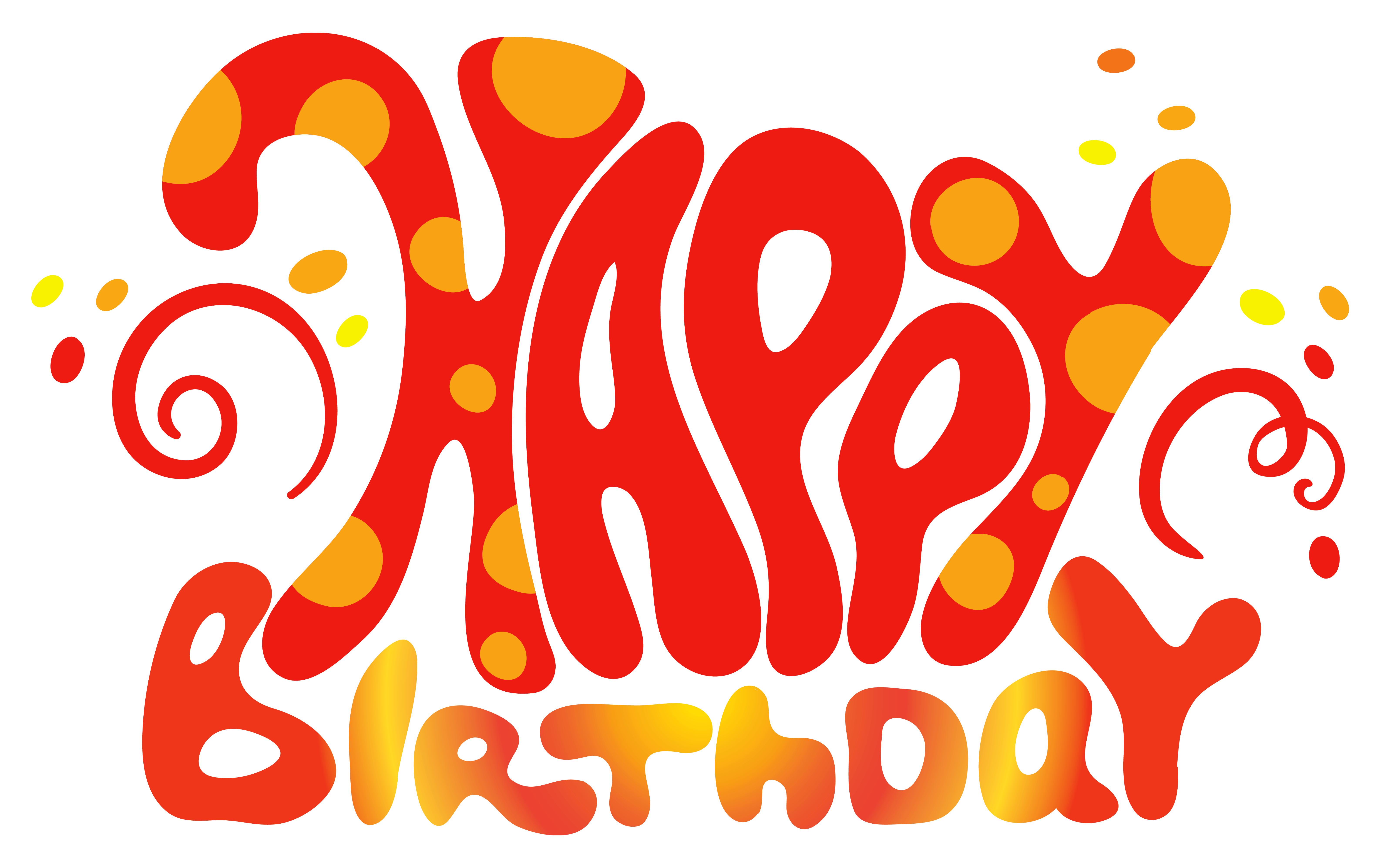 Red cute happy birthday. Words clipart happiness