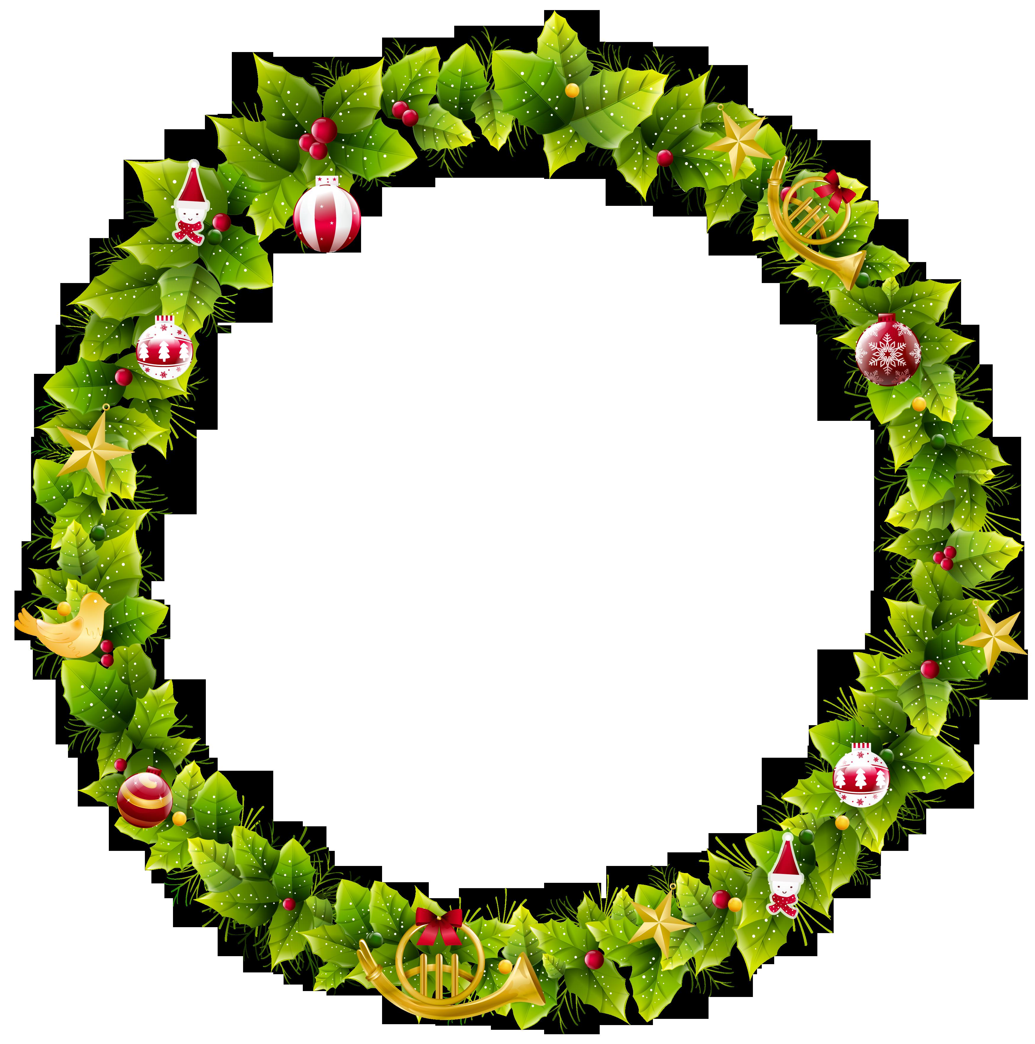 Large christmas photo frame. Fruit clipart wreath