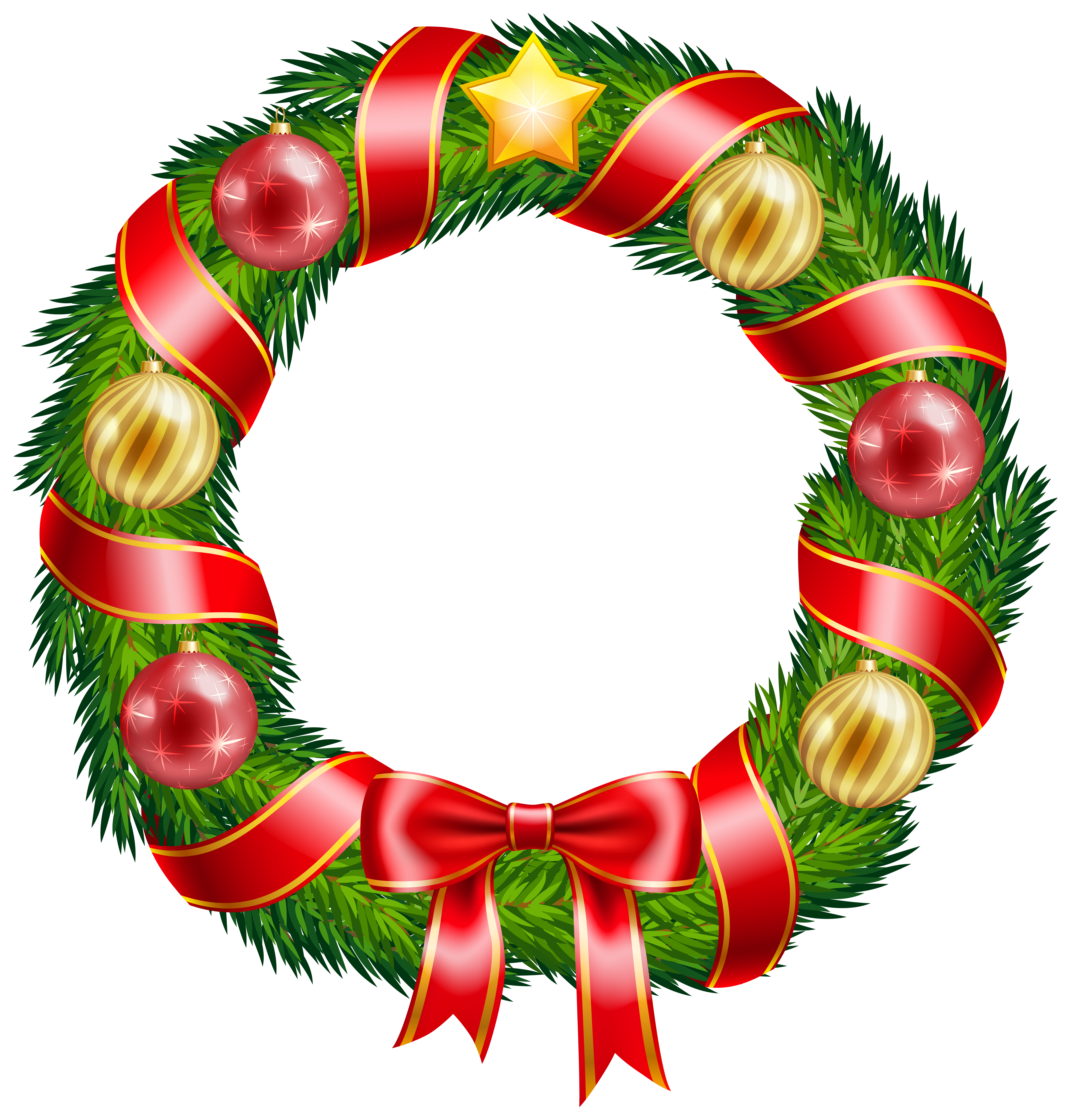 Clipart bow wreath bow. Christmas with ornaments and