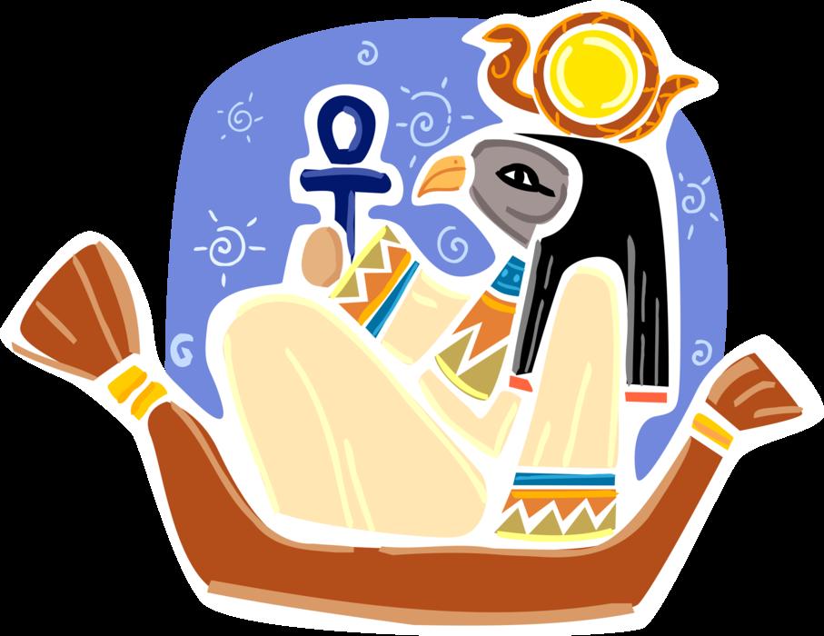 Horus deity vector image. Clipart boat ancient egyptian