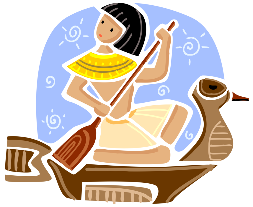 Boy paddles symbolic vector. Clipart boat ancient egyptian