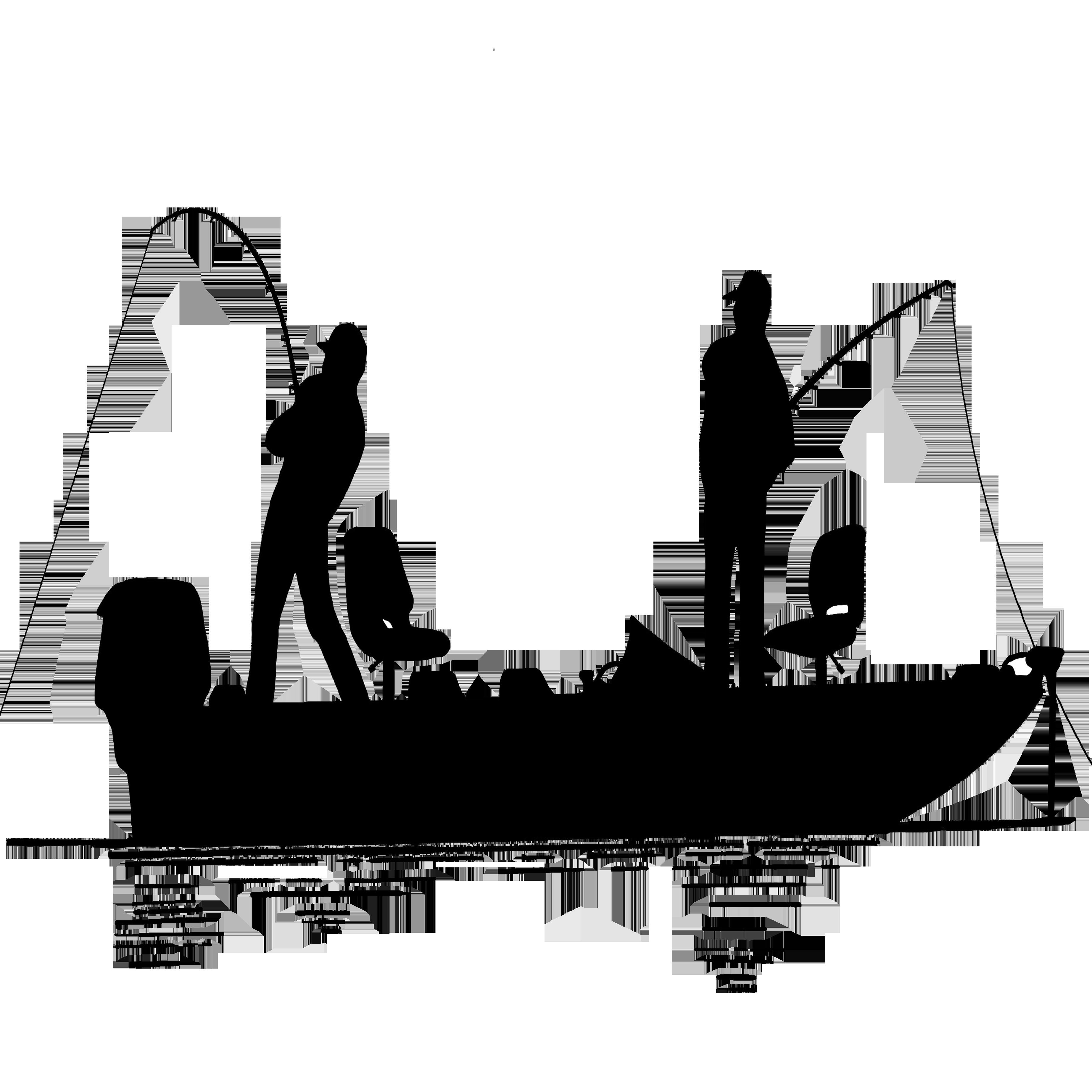 Fisherman in silhouette clip. Fish clipart boat