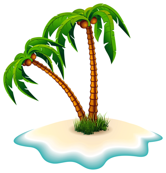 Trees and island png. Stamp clipart palm tree