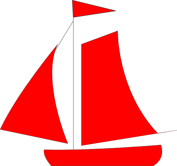 Red sail boat clip. Boats clipart logo