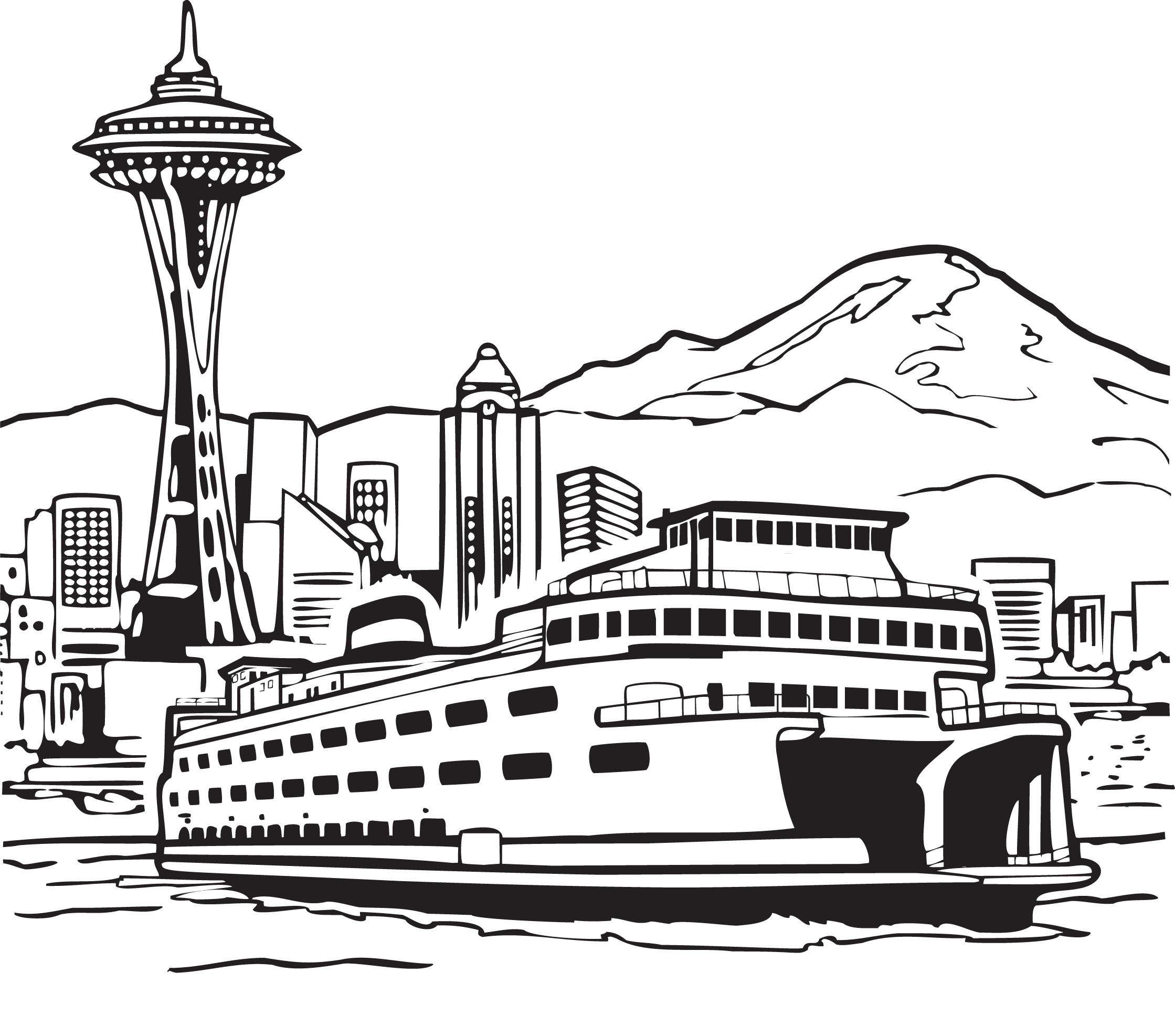 Space needle smith tower. Clipart boat passenger boat