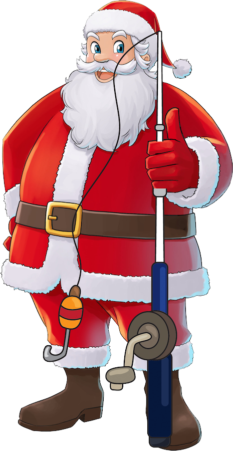 Santa fishing skates and. Clipart boat person
