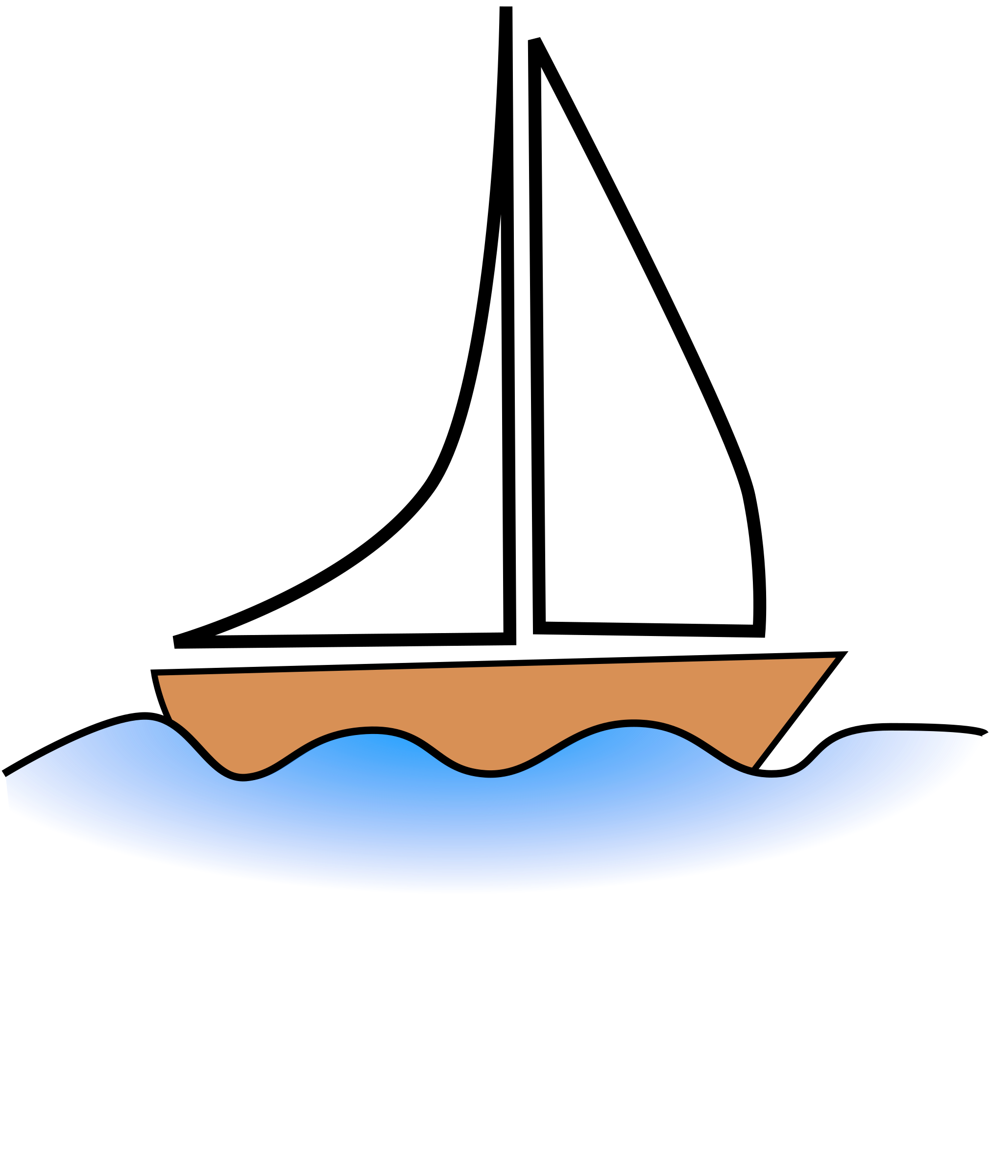 Clipart boat sailing boat. Water pencil and in