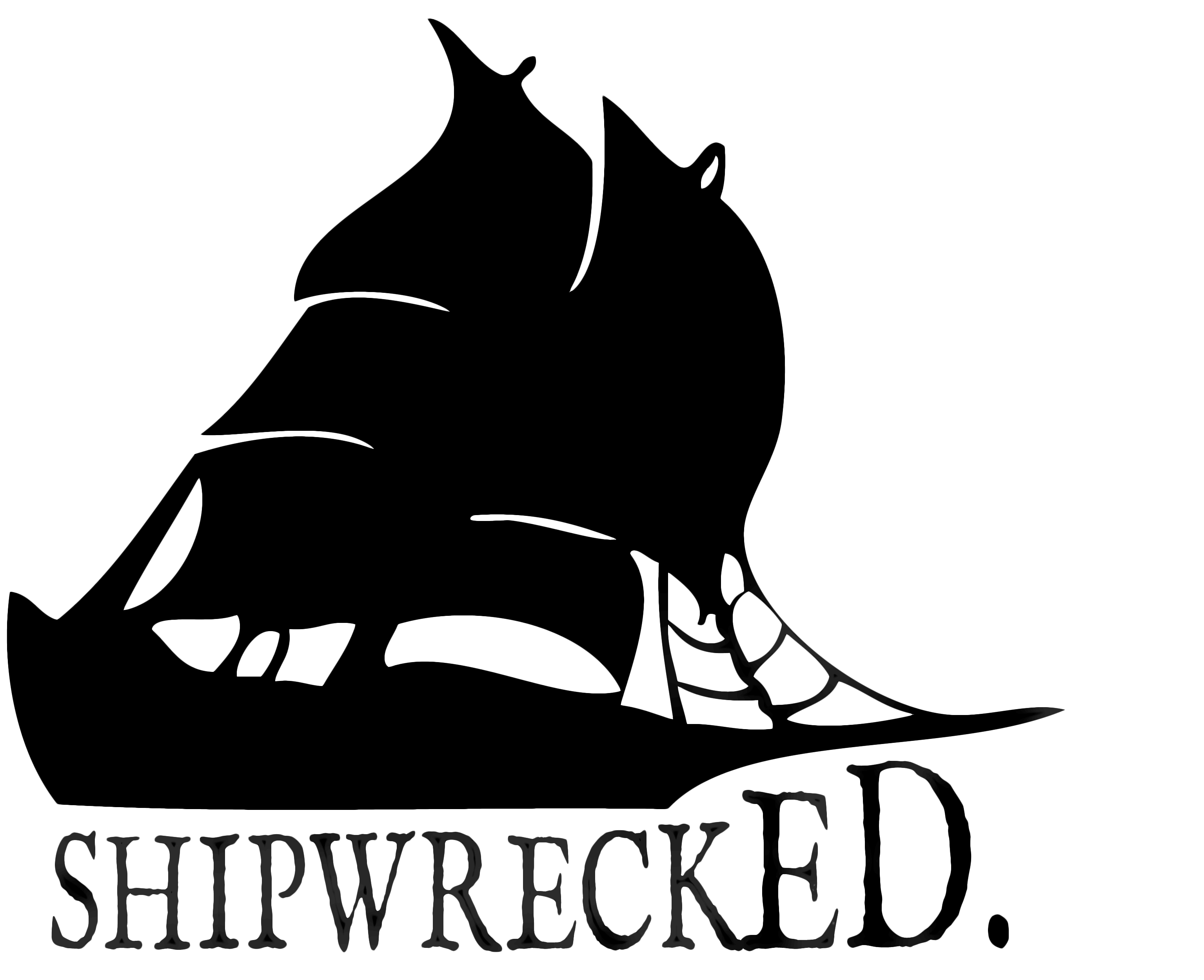 Clipart boat shipwrecked. Creation myth logo