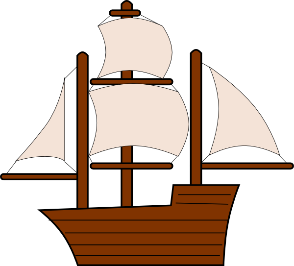 Clipart boat simple. Unfurled sailing ship clip