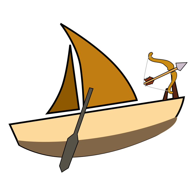 Sailing with arrow attached. Clipart boat skiff