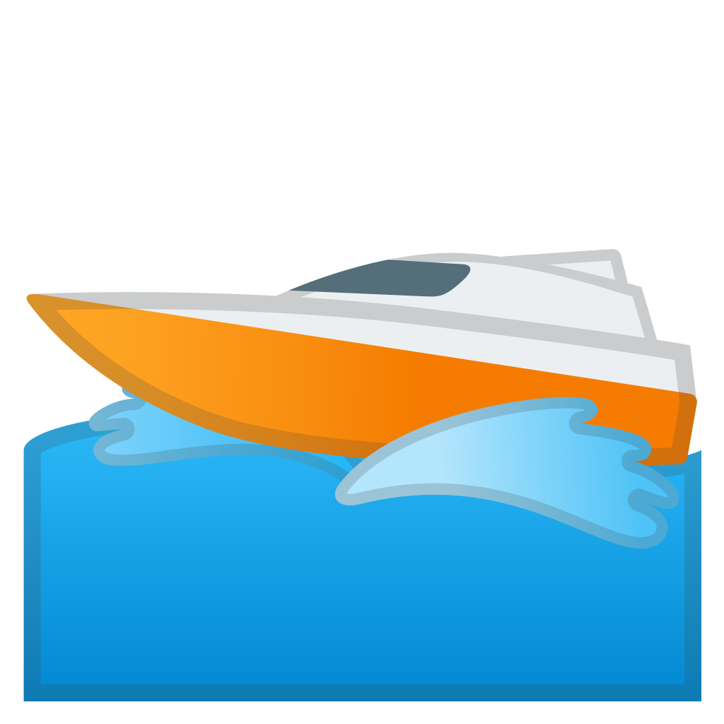 Clipart boat speed boat. Speedboat icon noto emoji