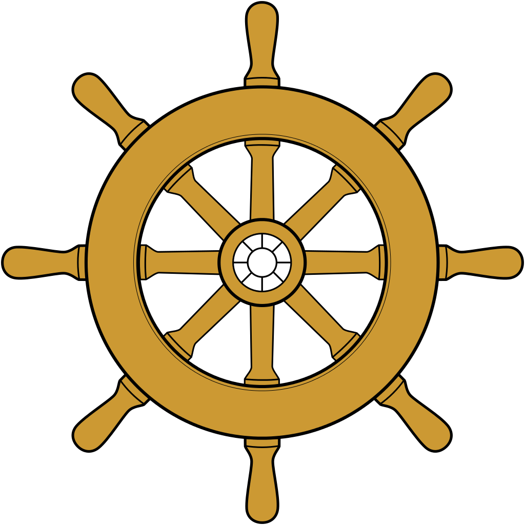 Clipart boat symbol. Steering wheel silhouette at