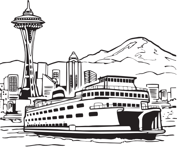 Ferry space needle and. Clipart boat vector