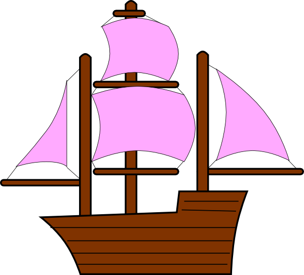 Pink pirate ship at. Pirates clipart clip art