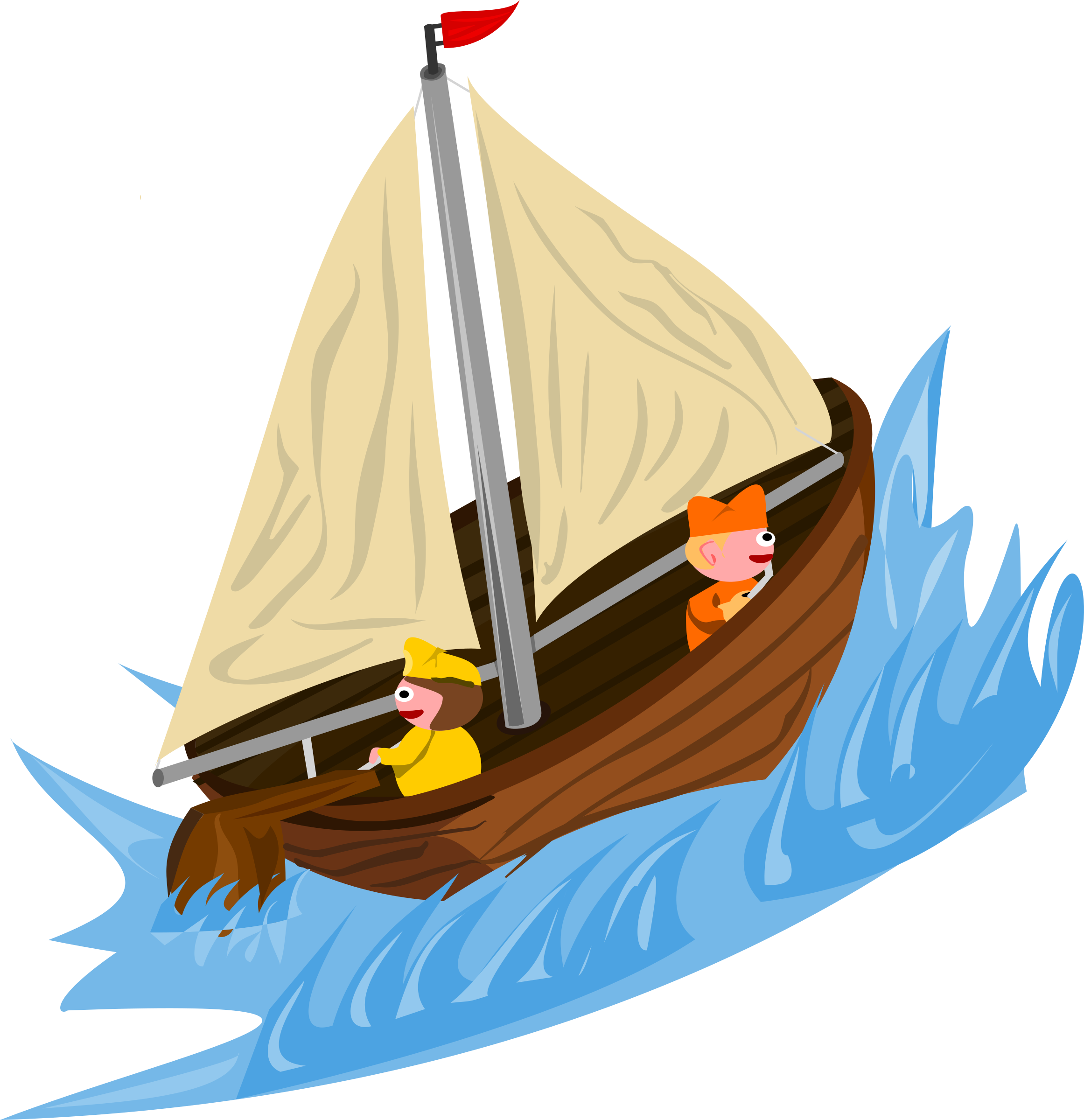 Sailing on wild big. Clipart boat water transport