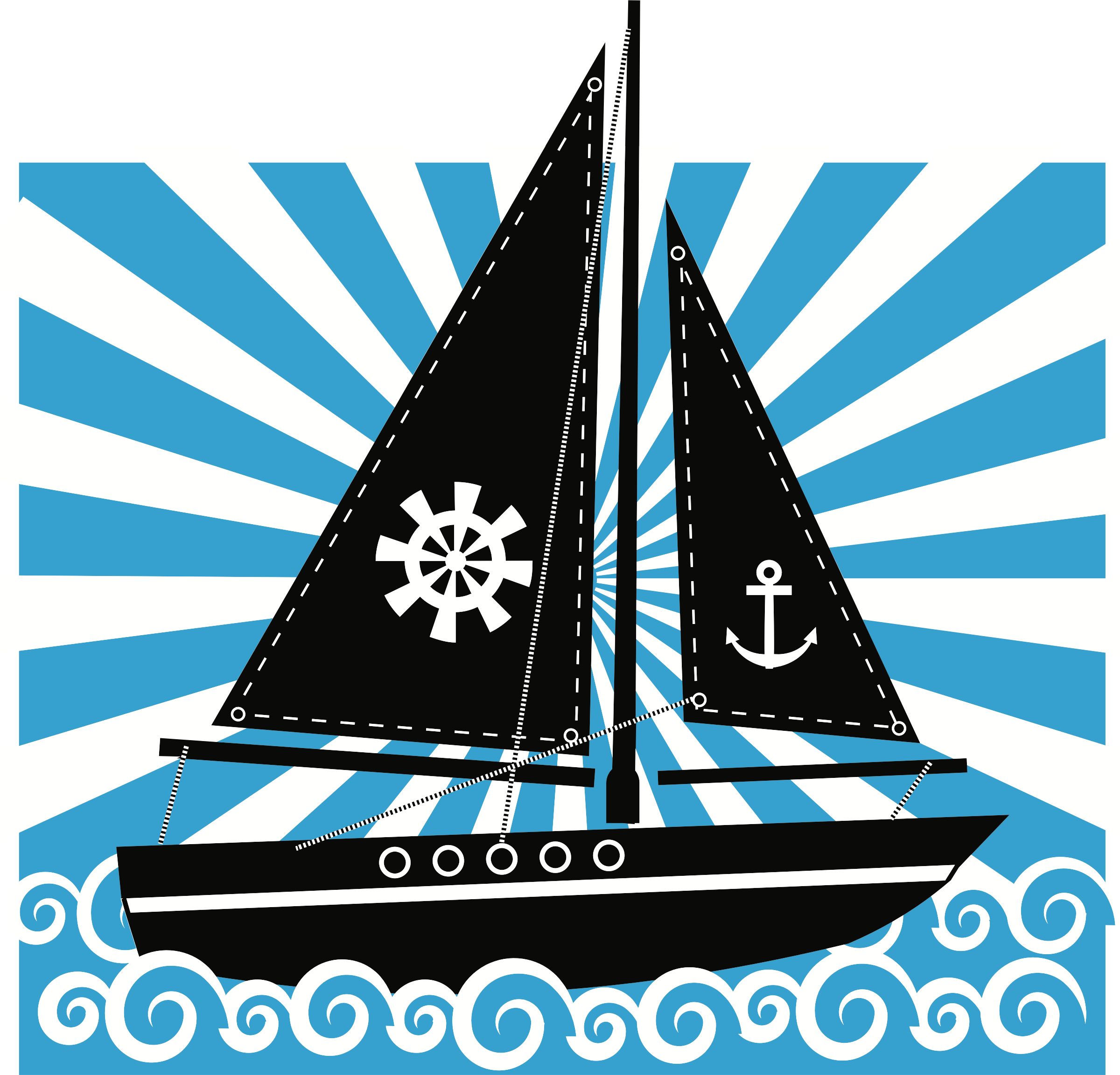 On sea big image. Clipart boat water transport