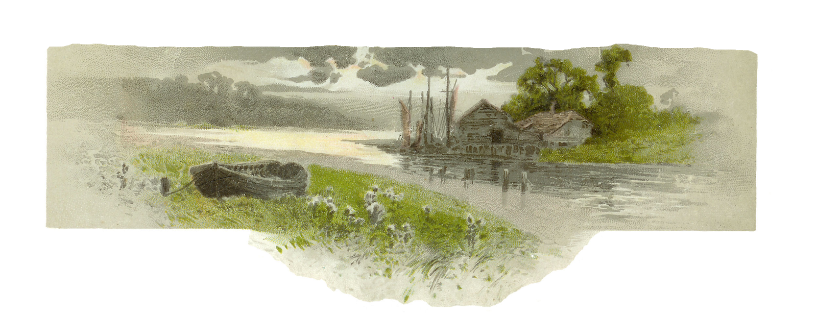Lake clipart landscape painting. Antique images free countryside