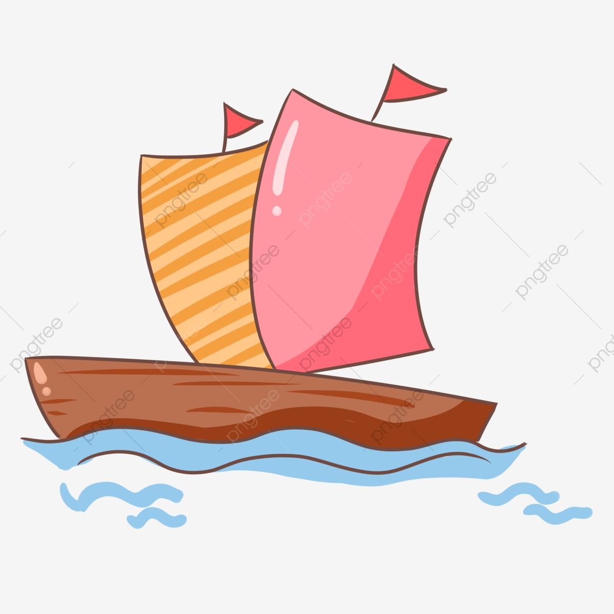 Pink sailboat yellow riding. Clipart boat wind