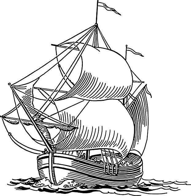 Sailing ship pirate ocean. Lake clipart rowing boat