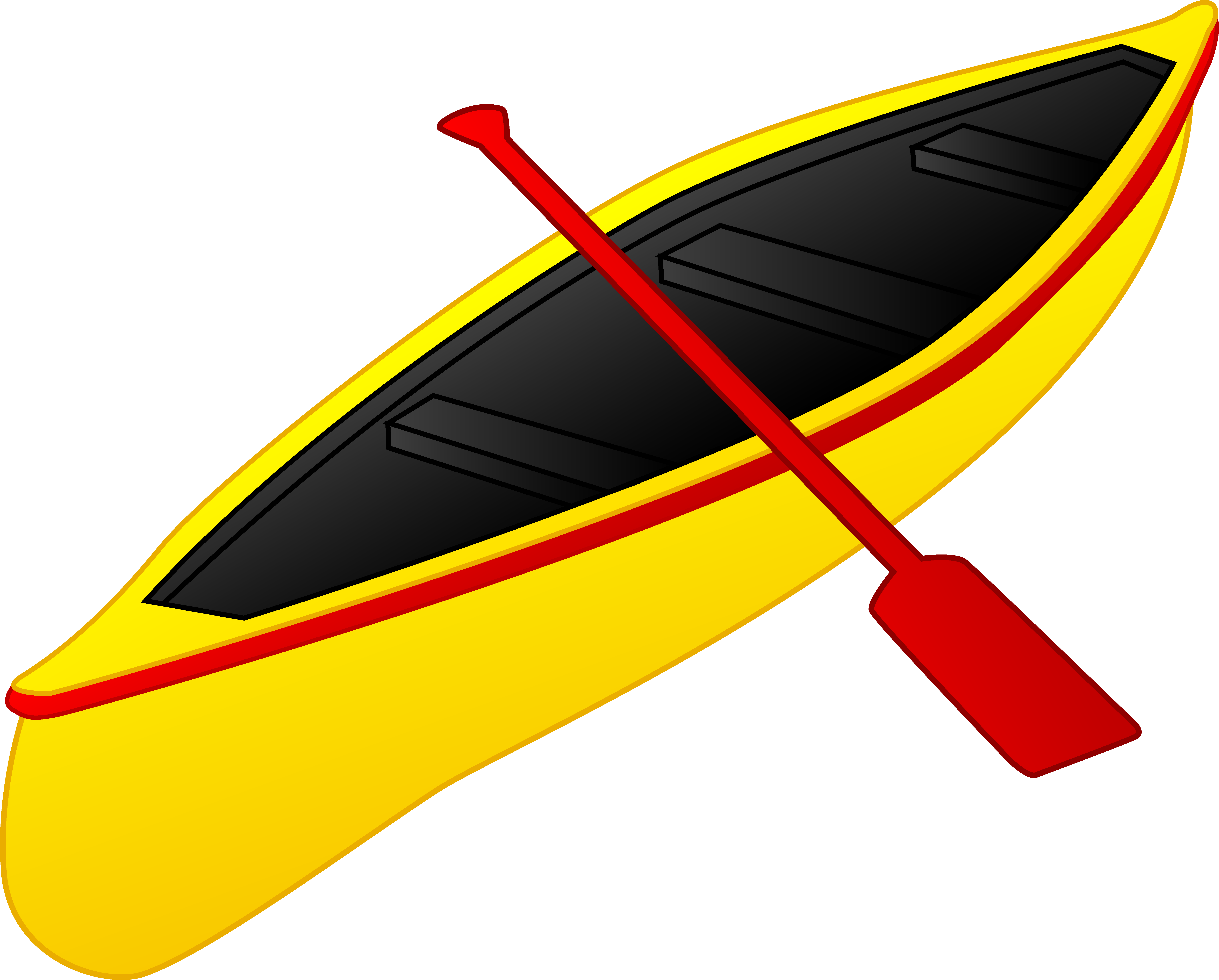 Yellow boat with a red paddle Free Clipart free image