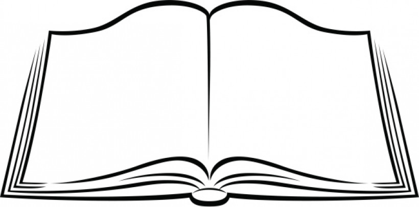 Clipart book. Opened black and white