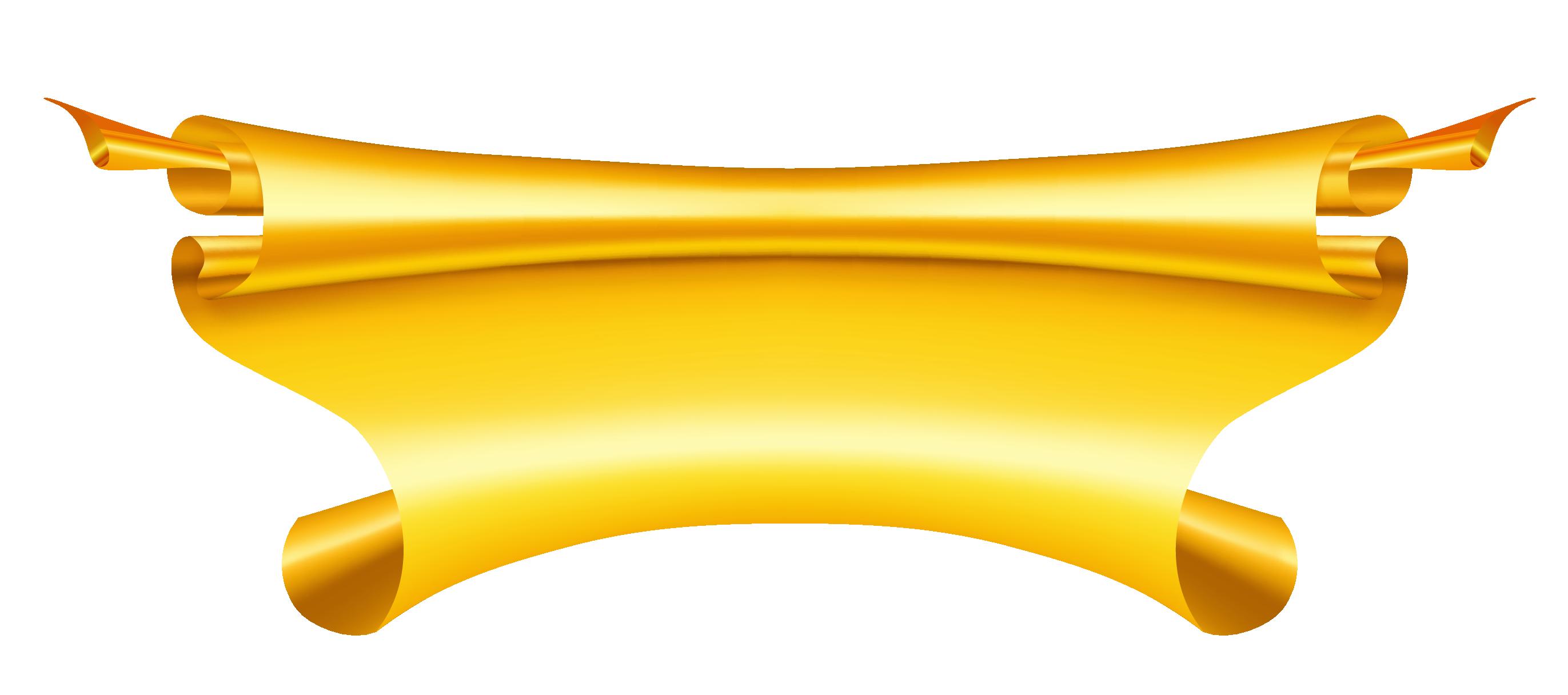 Yellow golden ribbon banner. Scroll clipart gold