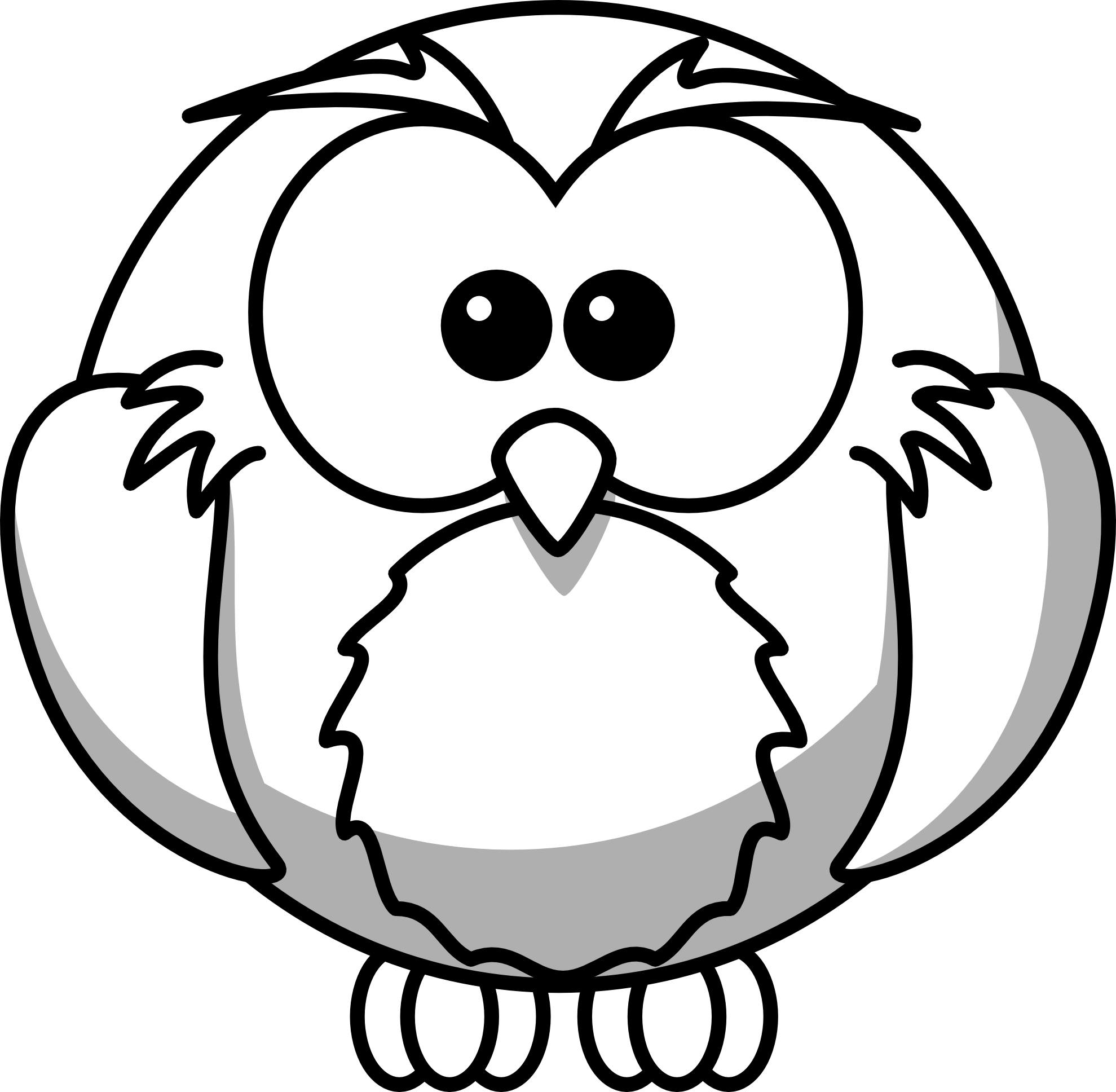Black and white panda. Pencil clipart owl