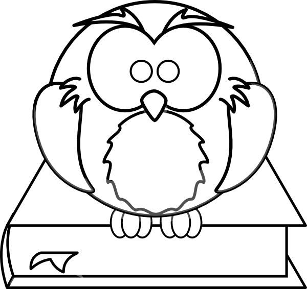 Clipart owl black and white. On book clip art