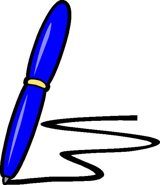 Blue clip art at. Clipboard clipart pen