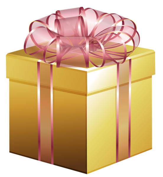 Gift clipart yellow. Large gold box with