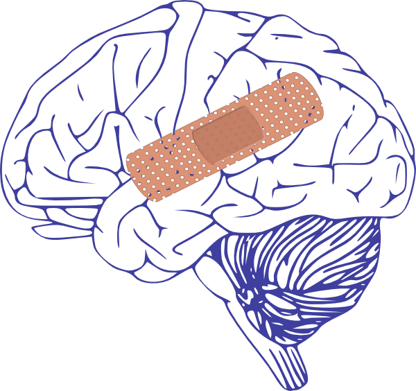 Brain with bandaid clip. Thumb clipart side