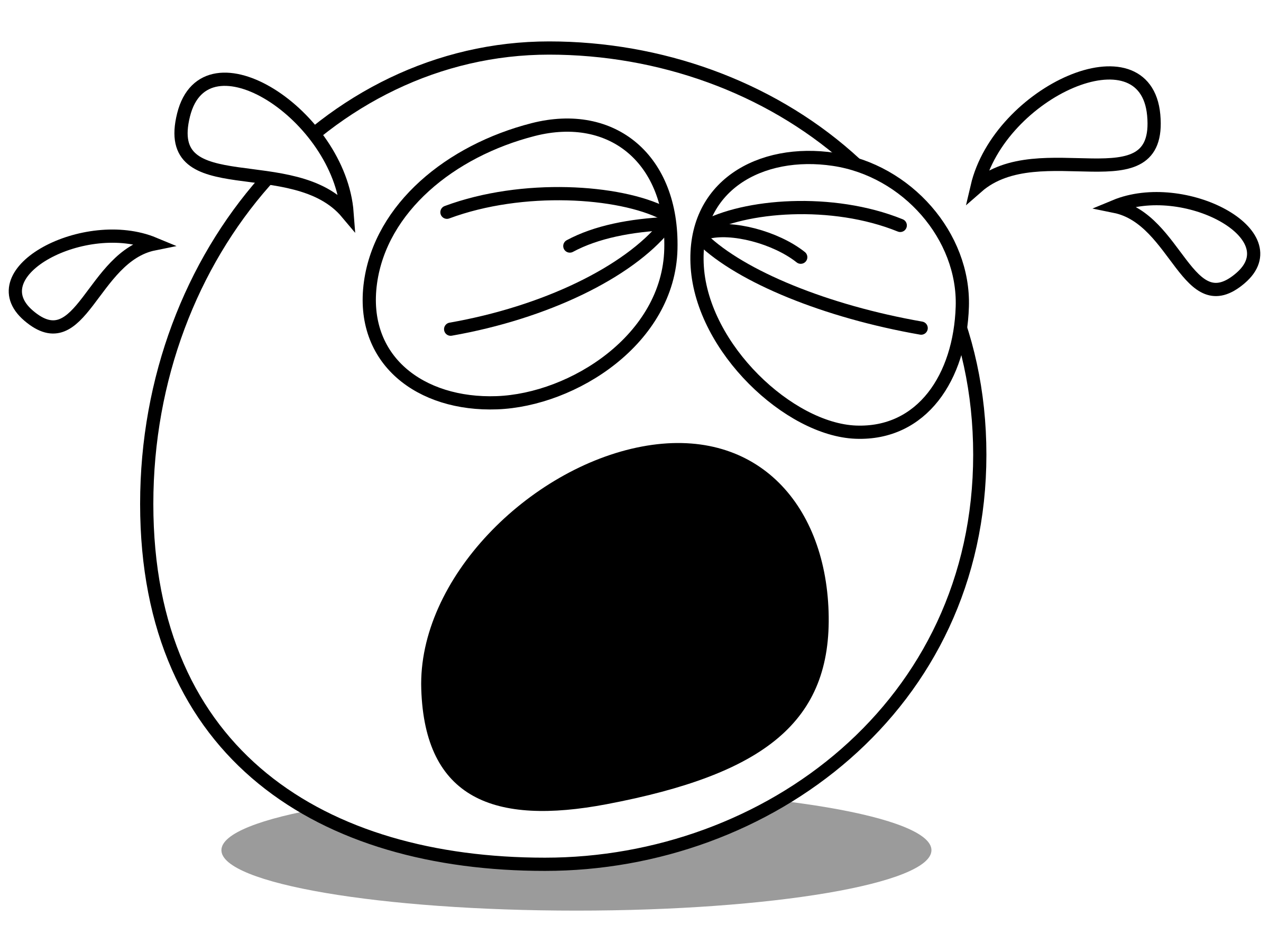 Buddy crying big image. Cry clipart black and white