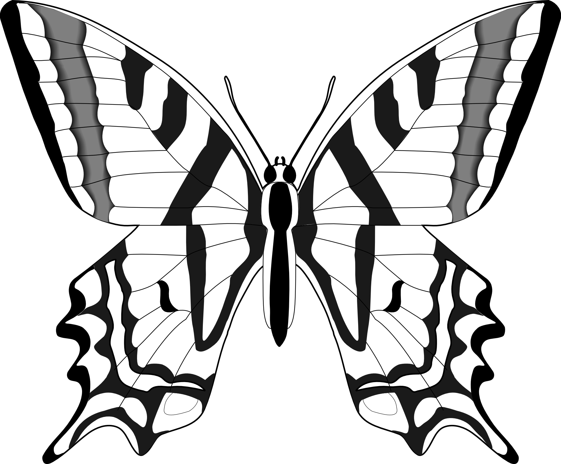 Simple black and white. Clipart book butterfly
