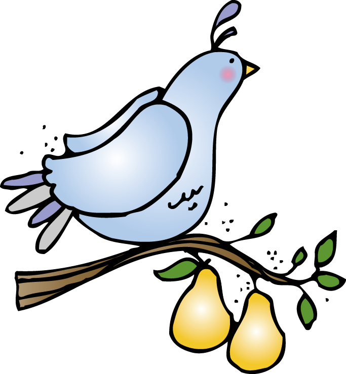 Partridge in a tree. Pear clipart cartoon