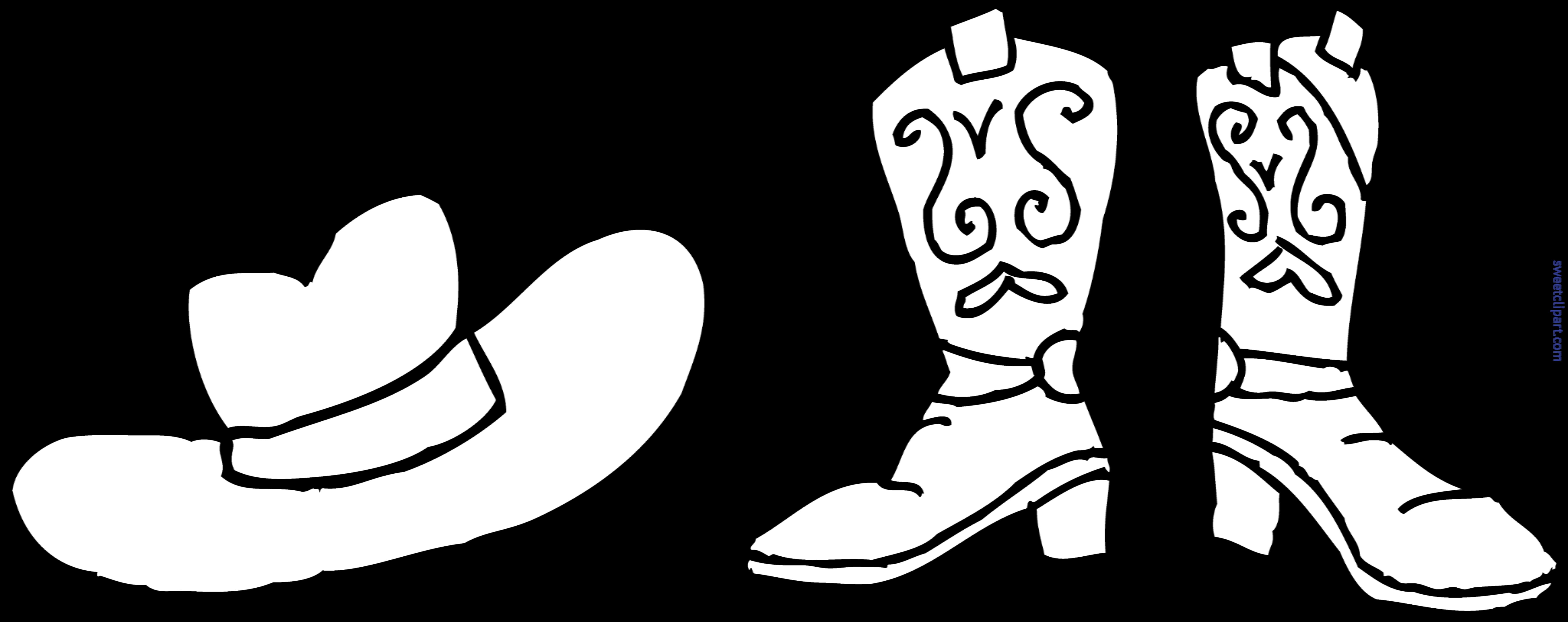 Cowboy hat boots coloring. Clipart cow boy