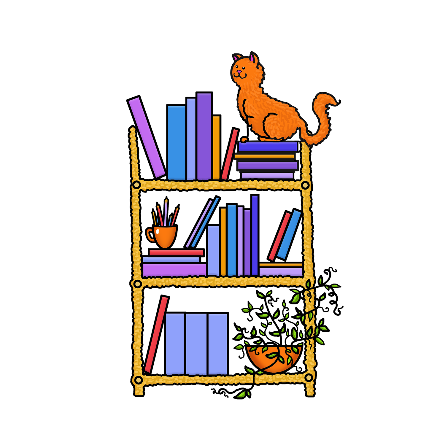 Librarian clipart shelve. Book shelf color png