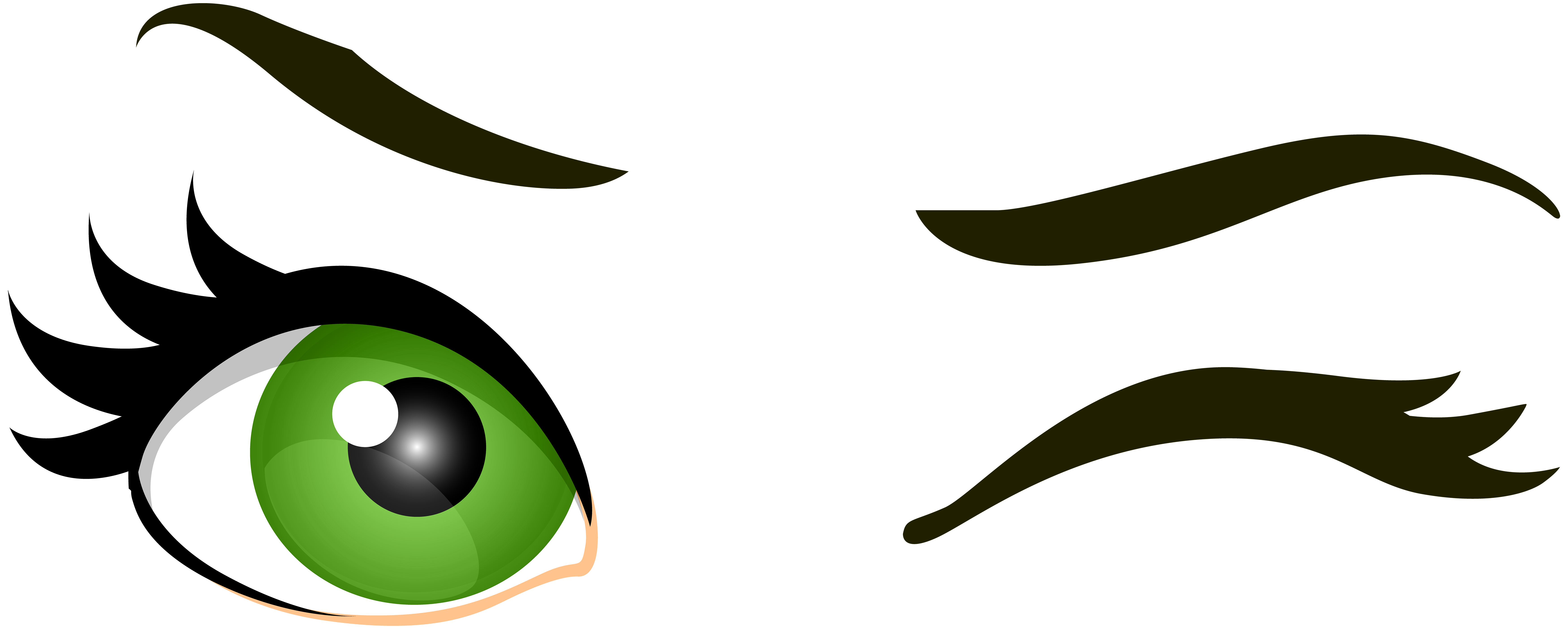 Eyeballs clipart large eye. Green winking eyes png