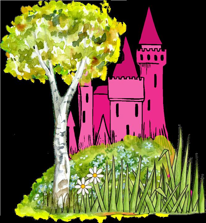 Clipart book fairytale. Public domain castle and