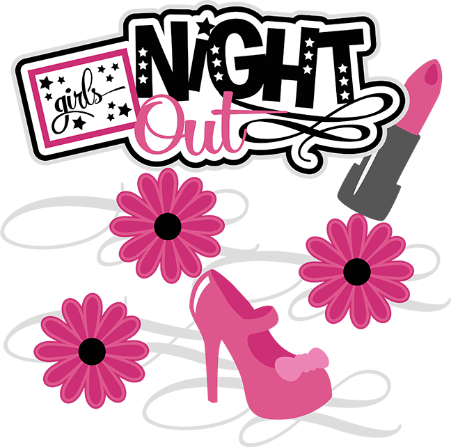 Girls out svg scrapbook. Night clipart cute