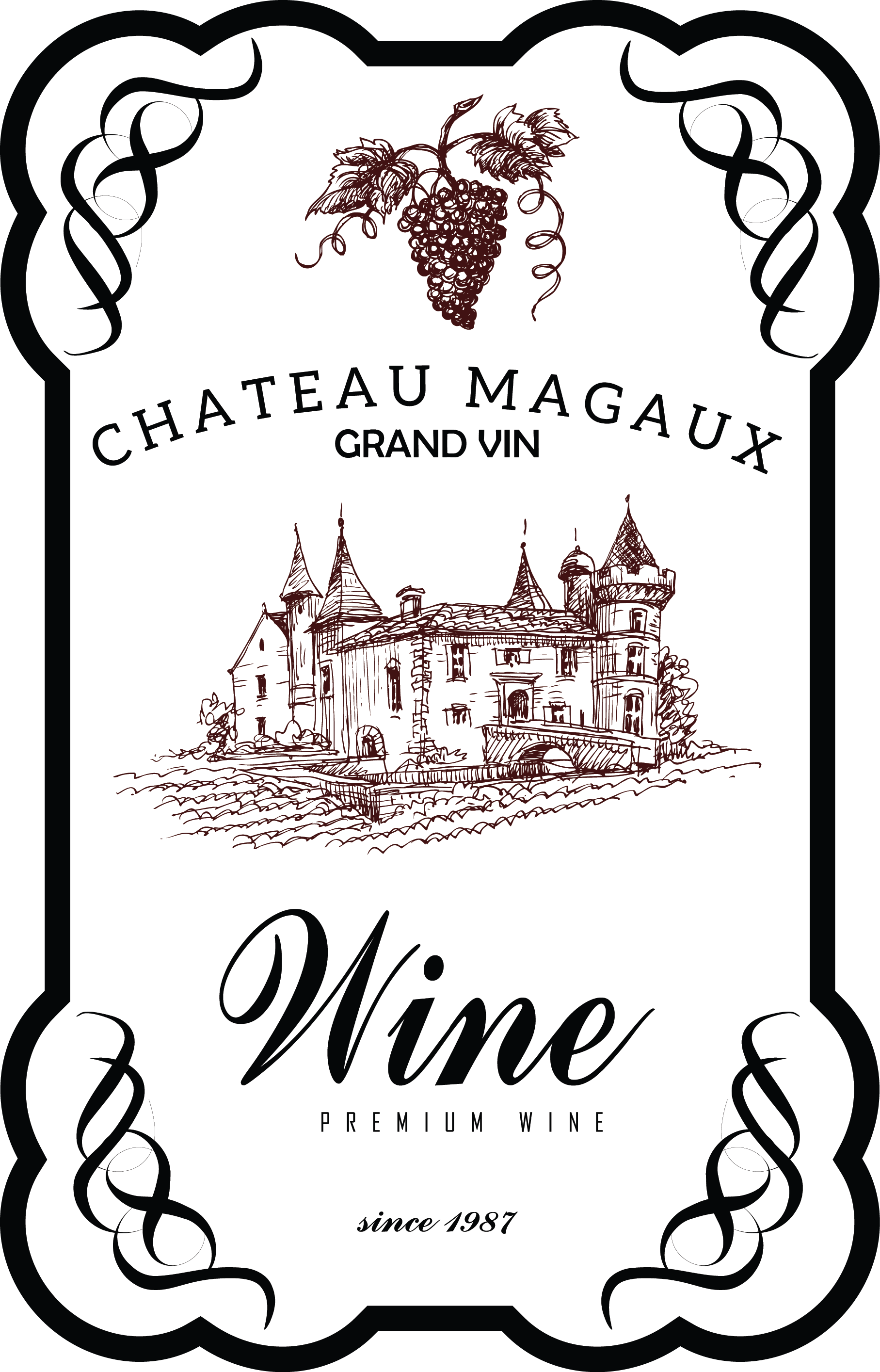My design wine label. Menu clipart vintage typography